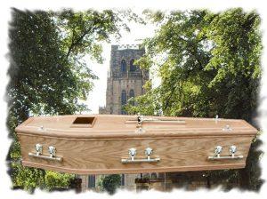 Oak Double Mould Double Wreath Coffin