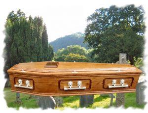 Oak Raised Lid Panel Coffin dark