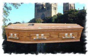 Solid Oak Raised Lid Panel Coffin
